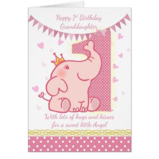 1. Geburtstags-Enkelin, rosa Elefant-Karte Karte