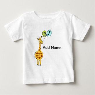 1. Geburtstags-Giraffe mit Ballonen Baby T-shirt