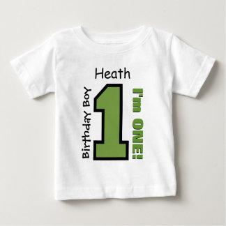 1. Geburtstags-Junge GRÜN ein Jahr-individueller Baby T-shirt