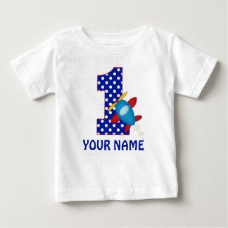 1. Geburtstags-Jungen-Flugzeug-personalisiertes Baby T-shirt