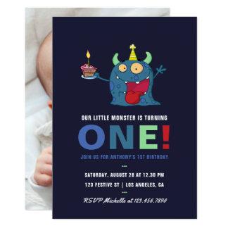 1. Geburtstags-kleine Monster-Jungen-Party Karte