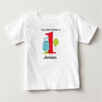 1. Geburtstags-kleines Monster-Blau Baby T-shirt