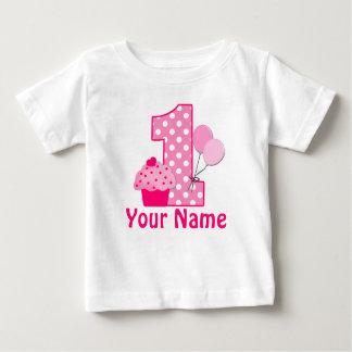 1. Geburtstags-Kuchen-Rosa-personalisierter T - Baby T-shirt