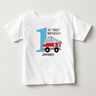 1. Geburtstags-Löschfahrzeug-Blau/Rot Baby T-shirt