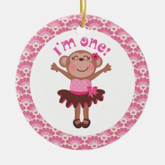 1. Geburtstags-Mädchen-Affe-Verzierungs-Geschenk Keramik Ornament