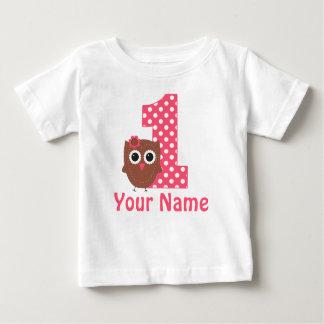 1. Geburtstags-Mädchen-Eulen-personalisierter T - Baby T-shirt