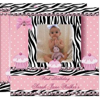 1. Geburtstags-Mädchen-Rosa-kleine Karte
