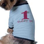 1. Geburtstags-Mädchen-Rosa und Brown-Tupfen Haustierkleidung