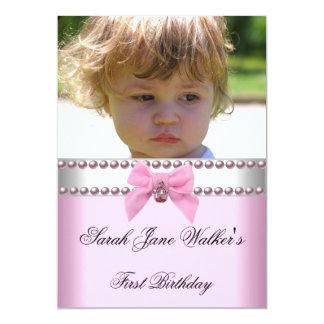 1. Geburtstags-Mädchen-Rosa-weißes Perlen-Foto 12,7 X 17,8 Cm Einladungskarte