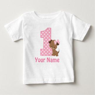 1. Geburtstags-Mädchen-Welpen-personalisiertes Baby T-shirt