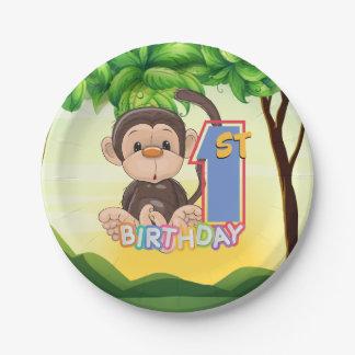 1. Geburtstags-Party-Affe Pappteller