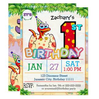 1. Geburtstags-Party-Dinosaurier-Einladung 10,8 X 14 Cm Einladungskarte