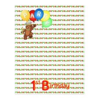 1. Geburtstags-Party-königliches Bärn-Einklebebuch Vollfarbige Flyer