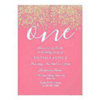 1. Geburtstags-Party rosa GoldGlitzerConfetti Karte