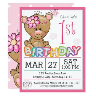 1. Geburtstags-Partyteddy-Bärn-Einladung Karte