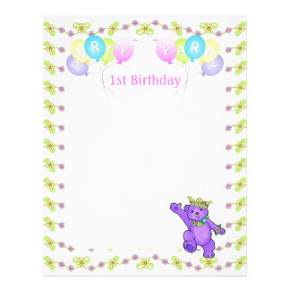 1. Geburtstags-Prinzessin Bear Party Scrapbook Pap 21,6 X 27,9 Cm Flyer