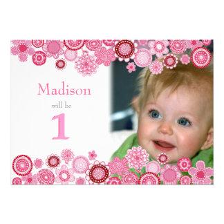 1. Geburtstags-rosa Party Einladungs-Foto-Karte Personalisierte Einladungskarte