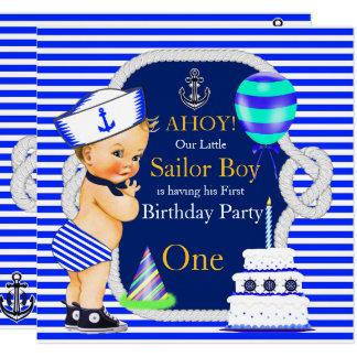 1. Geburtstags-Seemann-Jungen-Marine-blauer Karte