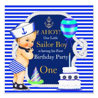 1. Geburtstags-Seemann-Jungen-Marine-blauer Quadratische 13,3 Cm Einladungskarte