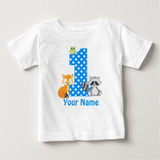 1. Geburtstags-Waldblauer personalisierter T - Baby T-shirt