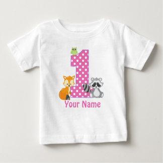 1. Geburtstags-Waldrosa-personalisierter T - Shirt