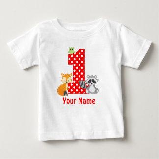 1. Geburtstags-Waldtier-personalisierter T - Shirt