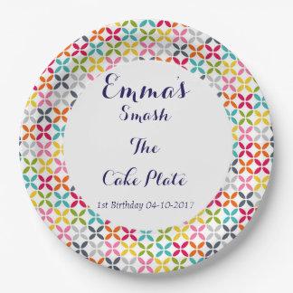1. Geburtstags-Zertrümmern der Kuchen Pappteller