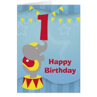 1. Geburtstags-Zirkus-Elefant-Karte Karte