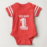 1. Geburtstagsfußball Jerseyzahl-Babybodysuit Shirts