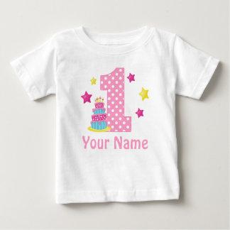 1. Geburtstagskuchen Rosa-personalisierter T - Baby T-shirt
