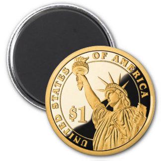 $1 Goldmünze-Freiheitsstatue Runder Magnet 5,7 Cm