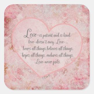 1 Herz 13 - Liebe ist geduldige Liebe ist nett Quadratischer Aufkleber