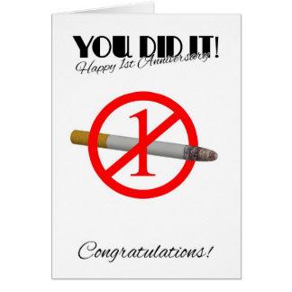 1. Jahrestag des Beendigens Gruß-Karte rauchend Grußkarte