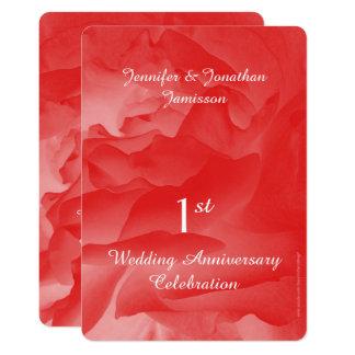 1. Jahrestags-Party Einladungs-korallenrote Karte