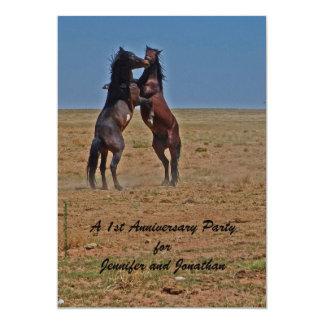 1. Jahrestags-Party Einladungs-Tanzen-Pferde Karte