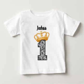 1. Jährige 3 Geburtstags-König-Crown Zebra einer Baby T-shirt