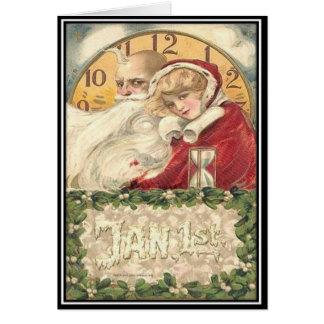 1. Januar alte Vater-Zeit-neues Jahr Karte