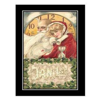 1. Januar alte Vater-Zeit-neues Jahr Postkarte