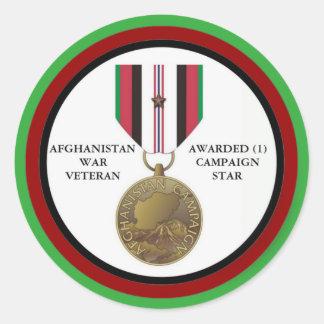 1 KAMPAGNEN-STERN-AFGHANISTAN-KRIEGSVETERAN RUNDE AUFKLEBER