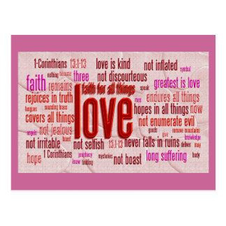 1 Korinther-13:1 - 13 Herz-Stoff Postkarte