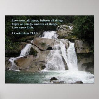 1 Korinther-13:7 - Wasserfall 8 Plakat
