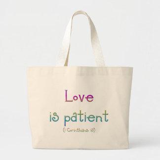 1 Korinther 13 - Liebe ist geduldig Jumbo Stoffbeutel