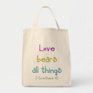1 Korinther 13 - Liebe trägt alle Sachen Tragetasche