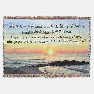 1 Korinther 13 PERSONALISIERTE HOCHZEITS-DECKE Decke