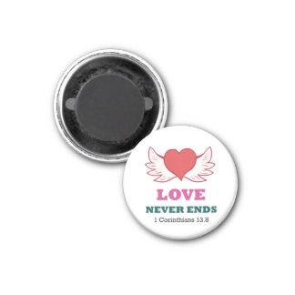 1 Korinther-Liebe 13,8 beendet nie Magneten Runder Magnet 3,2 Cm