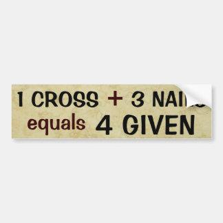 1 Kreuz plus 3 Nagel-Gleichgestellte verziehen Autoaufkleber