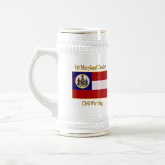 1. Maryland-Kavallerie-zivile Kriegs-Flagge Bierglas
