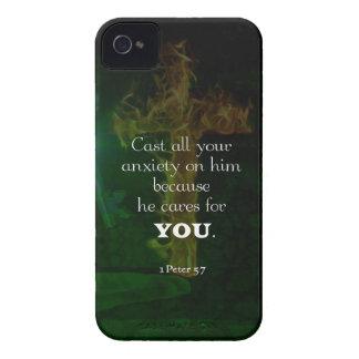 1 Peter-5:7, das Bibel-Vers-Zitat emporhebt iPhone 4 Cover