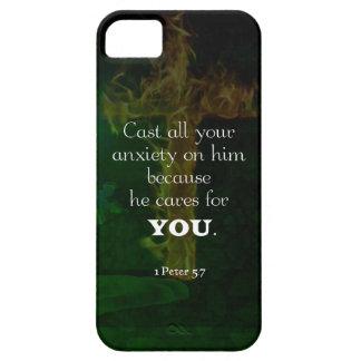 1 Peter-5:7, das Bibel-Vers-Zitat emporhebt iPhone 5 Etui