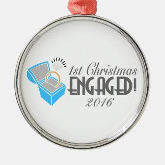 1. Weihnachtsverlobte Verzierung vom 2016 Silbernes Ornament